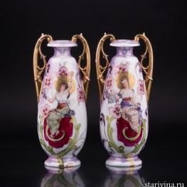 Две вазы в стиле Модерн, Royal Wien, Австрия, кон. 19 - нач. 20 вв