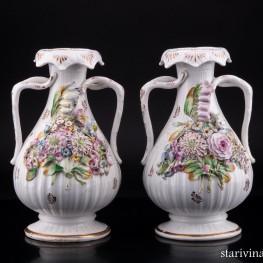 Две вазы с цветочным орнаментом, Coalport, Великобритания, кон. 19 - нач. 20 вв