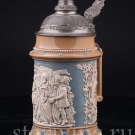 Старинная пивная Кружка Певцы 1/2л, Villeroy & Boch, Mettlach, Германия, 1902 г.