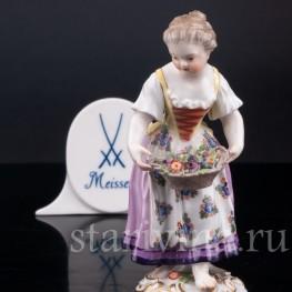 Девочка с корзиной цветов (дети-садовники), Meissen, Германия, сер. 19 - нач. 20 вв.