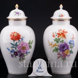 Фарфоровые декоративные Парные вазы с крышками, Meissen, Германия, сер. 20 в.