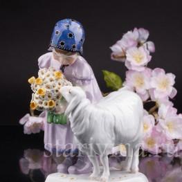 Фарфоровая фигурка Девочка с овечкой, Meissen, Германия, 1910 гг.