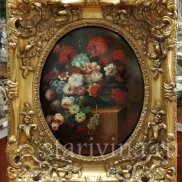 Картина маслом на доске Натюрморт в цветами, 19 в.