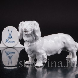 Статуэтка собаки из фарфора Длинношерстная такса, Meissen, Германия, вт. пол. 20 в.