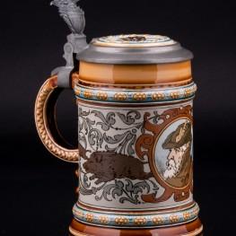 Пивная кружка Охота на кабана, 1/2 л, Villeroy & Boch, Mettlach, Германия, 1901 г
