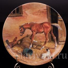 Декоративная фарфоровая тарелка Случайная встреча, Royal Worcester, Великобритания, 1991 г.